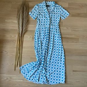 Urban Outfitters Blue Gingham Midi Shirt Dress   S